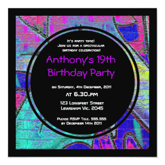 Graffiti-Geburtstags-Einladung Quadratische 13,3 Cm Einladungskarte