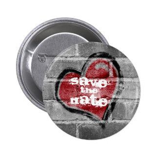 Graffiti-Herz-Save the Date Knopf Runder Button 5,1 Cm