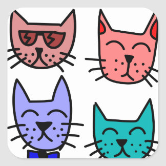 Graffiti-Katzen Quadrat-Aufkleber