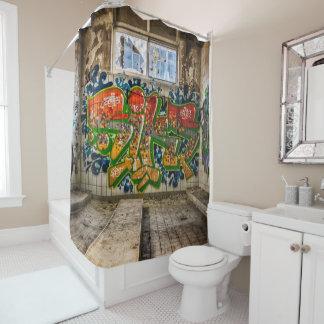 Graffiti-Kunst verlor verlassene Gebäude-Dusche Duschvorhang