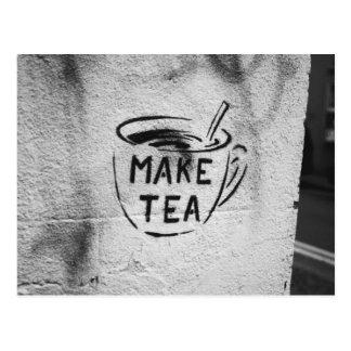 "Graffiti-Schablonenkunst""machen Sie Tee"" Postkarte"