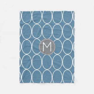 Grafikdesign-blaues und graues Monogramm Fleecedecke