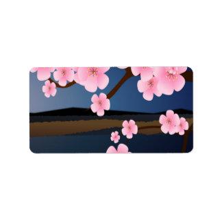 Grafikdesign der Kirschblüte Adressaufkleber
