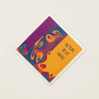 Grafikdesign-Muster - violette Orange + Ihr Text Papierserviette