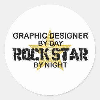 Grafikdesigner-Rockstar Runder Aufkleber