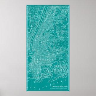 Grafische Karte von New York Poster