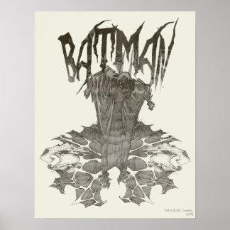 Grafische neue Bleistift-Skizze 2 Batmans Poster