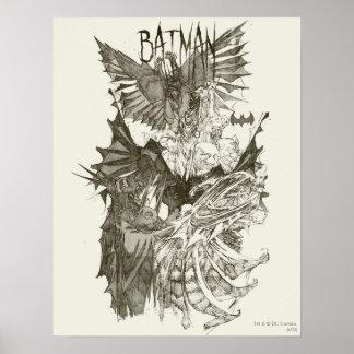 Grafische neue Bleistift-Skizze Batmans Poster