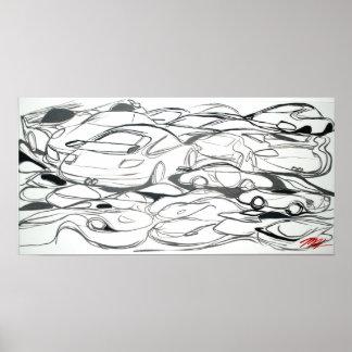 """Grafische"""" Plakatkunst """"des Sportautos Posterdrucke"""