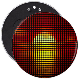 Grafische Sonnepunkte in Retro - Knopf Runder Button 15,3 Cm