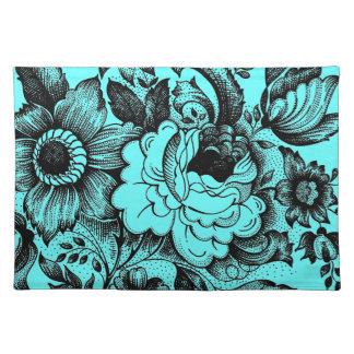 Grafischer Blumen-Blumenstrauß Silhoutte Stofftischset