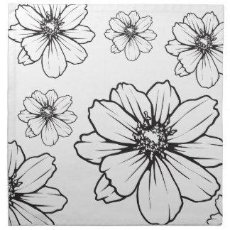 Grafischer Blumendruck Serviette