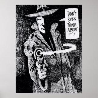 Grafischer neuer Held, der ein Gewehr zeigt Poster