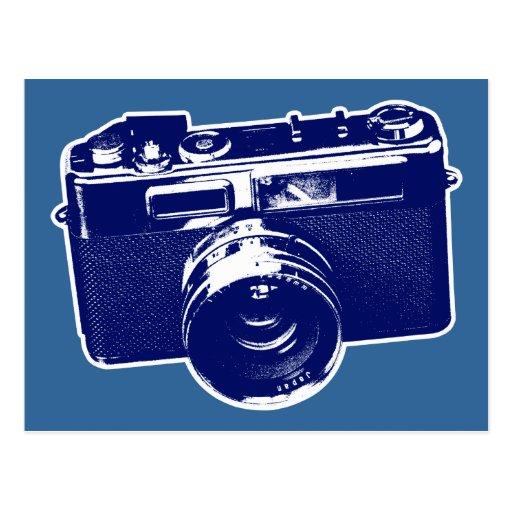 Grafischer Retro Kamera-Entwurf im Blau Postkarten