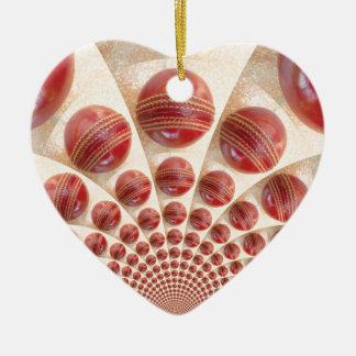 Grafisches Vintages Kricket-Spiel von Keramik Herz-Ornament