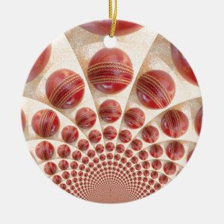 Grafisches Vintages Kricket-Spiel von Rundes Keramik Ornament