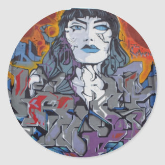 grafitti_girl runder aufkleber