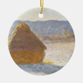 Grainstack am Morgen, Schnee-Effekt durch Claude Keramik Ornament