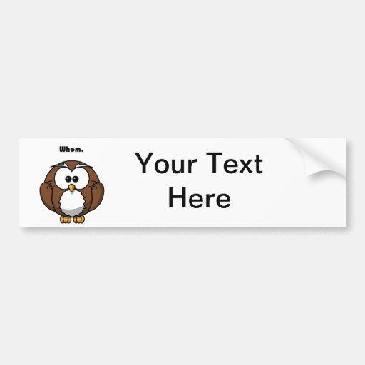 Grammatik-Eule die Cartoon Auto Sticker