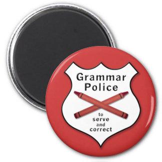 Grammatik-Polizei-Abzeichen Runder Magnet 5,1 Cm