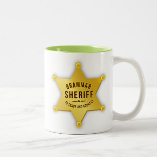 Grammatik-Sheriff Zweifarbige Tasse