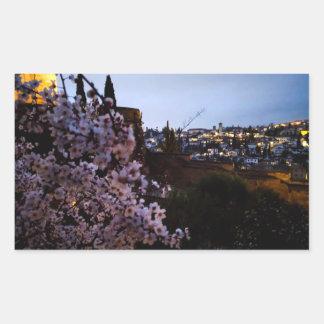 Granadas Albayzin gesehen von der des Alhambras Rechteckiger Aufkleber