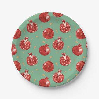 Granatapfel-Frucht-vektornahtloses Muster Pappteller