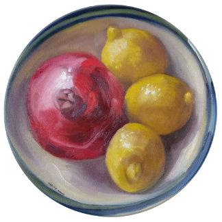 Granatapfel-u. Zitronen-Porzellan-Platte Porzellanteller