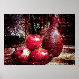 Granatäpfel und ein Krug Poster