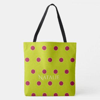 Granatapfel und Limone Polka-Punkte personalisiert Tasche
