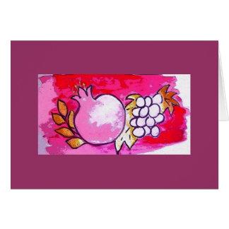 Granatapfel und Trauben-Gruß-/Anmerkungskarte Karte