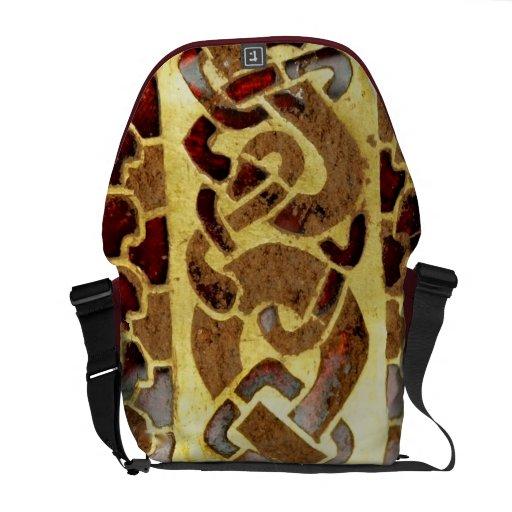 Granats-und Goldkunst-Rickshaw-Bote-Tasche - Beaut Kurier Tasche