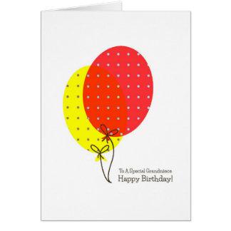 Grandniece-Geburtstagskarten, große bunte Ballone Grußkarte