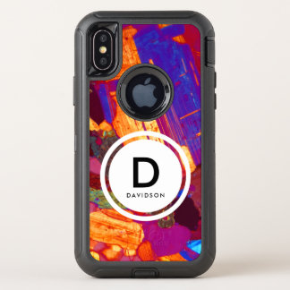 Granit-dünner Abschnitt mit Gips-Platten-Monogramm OtterBox Defender iPhone X Hülle