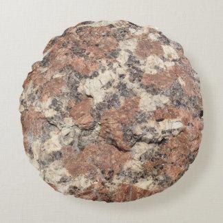 Granit-Felsen-Beschaffenheit --- Rosa Rundes Kissen