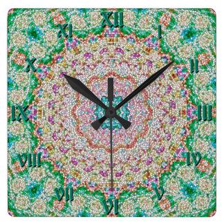 Granola-Mandala-Uhr Greenwichs Greentime Quadratische Wanduhr
