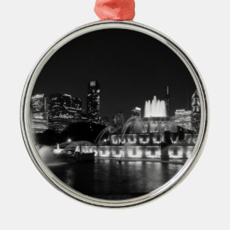 Grant-Park-ChicagoGrayscale Rundes Silberfarbenes Ornament