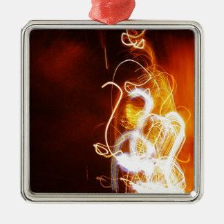 Graphitfeuer-Brand-Rauch-abstraktes Metallrostiges Silbernes Ornament