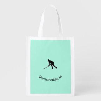 Gras-Hockey-Spieler Wiederverwendbare Einkaufstasche