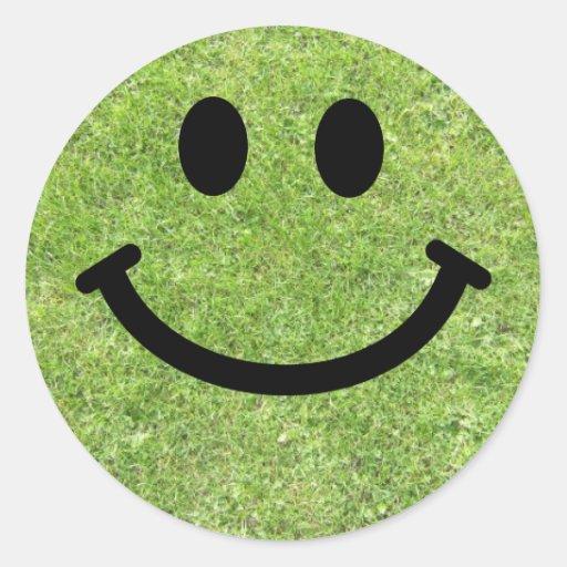 Gras-smiley Runder Aufkleber