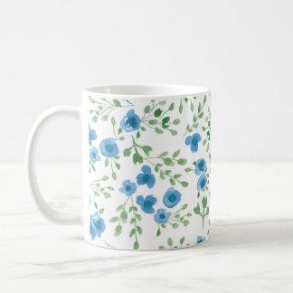 Grasland-Blumen - Watercolor-blaues Mit Blumengrün Kaffeetasse