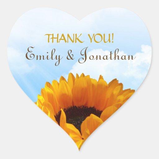 Grasland-Sonnenblume danken Ihnen Herz-Aufkleber