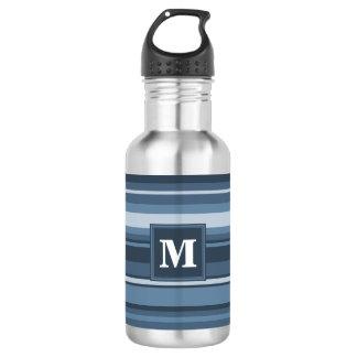Grau-blaue Streifen des Monogramms Edelstahlflasche