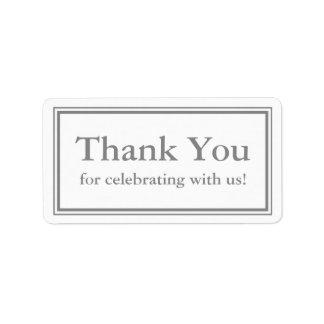 Grau danken Ihnen Aufkleber oder Adressaufkleber