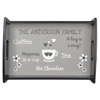 Grau der heißen Schokolade des Tablett