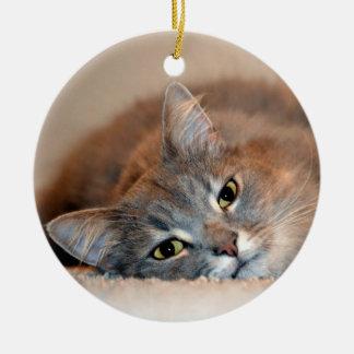 Grau, TAN, weiße langhaarige Katze durch Shirley Keramik Ornament