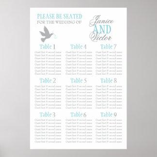 Grau tauchte Hochzeitssitzplatz-Tabellenplan 1-9 Poster
