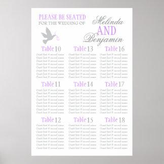 Grau tauchte lila Hochzeitssitzplatz-Tabellenplan Poster
