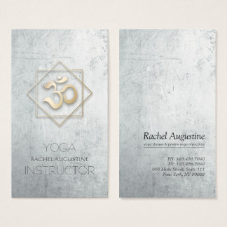 Grau u. GoldOM-Symbol-Yoga-Meditations-Lehrer Visitenkarte