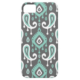Grau und Aqua Ikat Paisley Barely There iPhone 5 Hülle